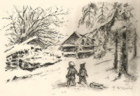 Bílkovský František, litografie, Zimní radovánky