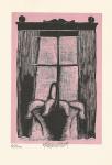 Komárek  Vladimír, ocelorytina, Košík v okně