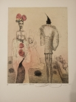 Vavrová Katarína, Zvedavý páv, orig. kolorovaný lept