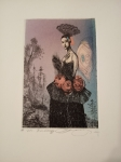 Vavrová Katarína, Madam Butterfly, orig. kolorovaný lept