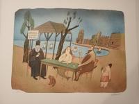 Born Adolf, barevná litografie, Karetní partie v Řecku