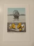 Velčovský Josef, litografie, Lišky na molu (Finsko)